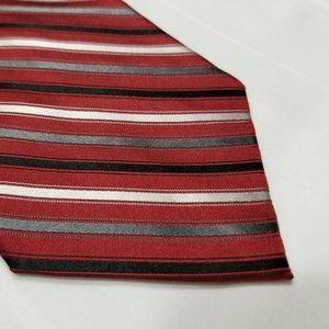 Red Silk CROFT & BARROW Striped Tie